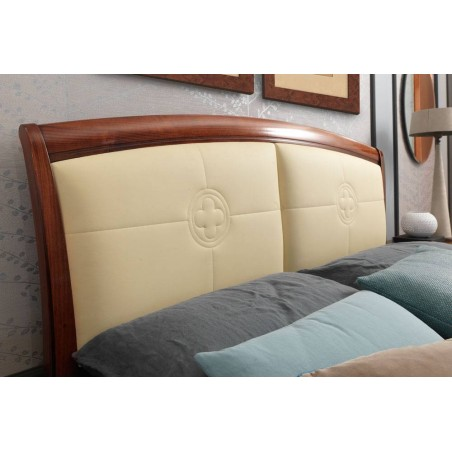 PRAMA  спальня PALAZZO DUCALE ciliegio КРОВАТЬ с кожаным изголовьем и с изножьем 140 см