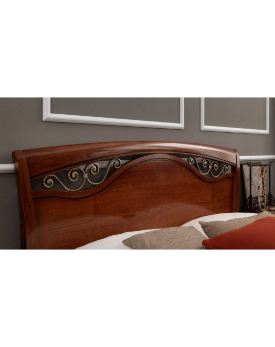 PRAMA  спальня PALAZZO DUCALE ciliegio КРОВАТЬ 180 см с ковкой и с изножьем